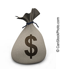 3d money bag - 3d render of dollar money bag