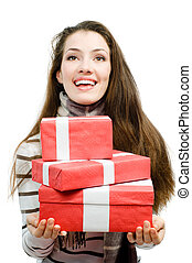 Cristmas presents - girl with Cristmas presents on white...