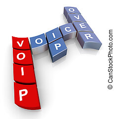 Crossword of voip - 3d render of crossword voip voice over...