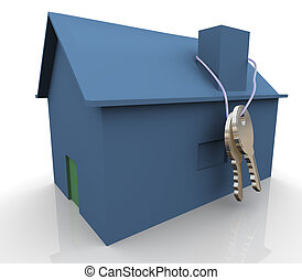 3d blue house and keys - 3d render of blue house with keys