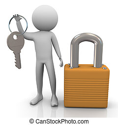 3d man and padlock - 3d man with padlock and keys