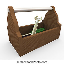 3d toolbox - 3d render of toolbox on white background