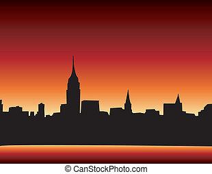 New York Skyline at sunset - New York skyline at sunset