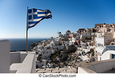 Greece flag - Greece national flag in Oia at Santorini over...