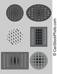 Sewer and air vents - Grates on the road, and on the wall,...