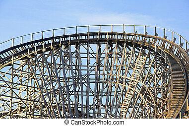 Wooden rollercoaster - Track of a wooden rollercoaster