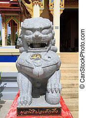 Stone lion near temple in Wat Ko Lak, Prachuap Khiri Khan,...