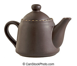 Teapot - Brown teapot isolated over white background