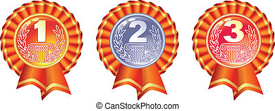 Gold, silver and bronze glossy medals with ribbons.
