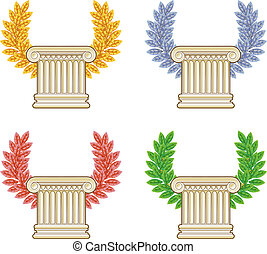 Gold, silver, bronze and green laurel wreath with a Greek column. Vector set.