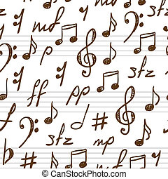 Seamless abstract background with music symbols. Vector...