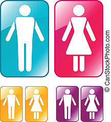 Male and female WC sign. Vector illustration.