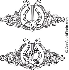 Ancient lyre and decorative elements Symbol of art Vector...