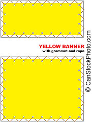 Yellow banner with grommet and rope. Vector illustration.