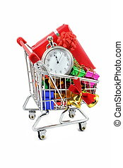 Last minute Christmas shopping in a trolley