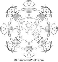 Children standing around Earth, contour - Happy children...