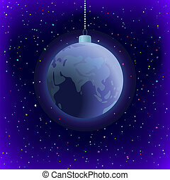 Christmas background, Earth in space