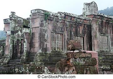 Wat Phu in Laos - Ruins of old buddhist temple WAt Phu,...