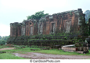 Wat Phu in Laos - Ruins of old buddhist temple WAt Phu,...