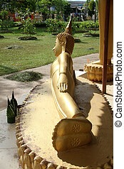 Sleeping Buddha - Big golden sleeping Buddha in monastery,...