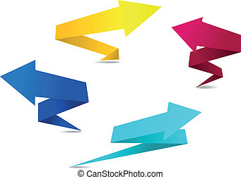 Origami arrow banners - Arrow banners in origami style for...