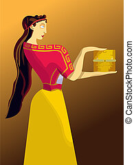 Pandoras box - Women in ancient Greek costume, holding a box...