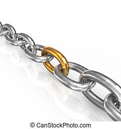 Chain - Iron chain with one golden part on white background.