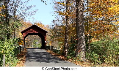 Covered Wooden Bridge - Wooden covered bridge in autumn...
