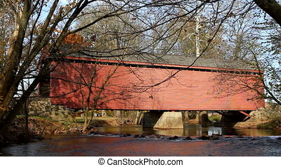 Covered Bridge Over Creek - Vintage wooden covered bridge...