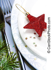 Christmas composition - close up of a festive place setting