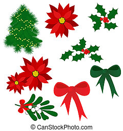 Christmas symbols - Set of isolated Christmas elements for...