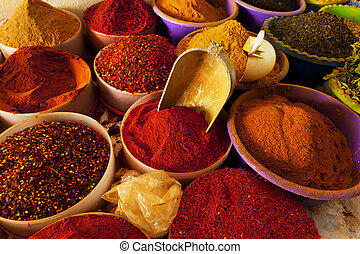 Spice market - Beautiful vivid oriental market with various...