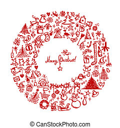 Christmas wreath, sketch drawing for your design