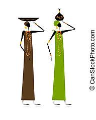 Ethnic women with jugs