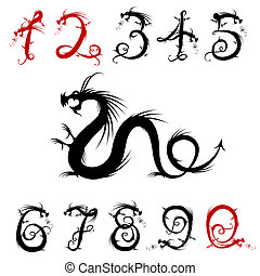 Numbers made from dragons for your design