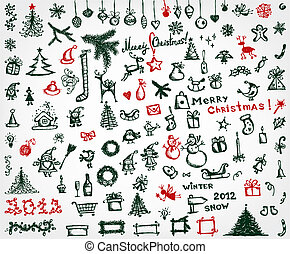 Christmas icons, sketch drawing for your design