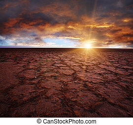 Chott el Djerid - Beautiful dramatic sunrise over great...
