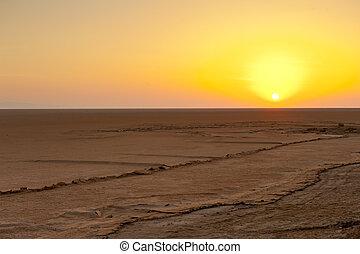 Chott el Djerid - Beautiful dramatic sunrise over great...