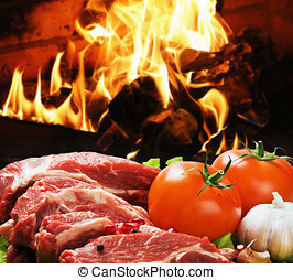 raw meat with vegetables cooked for frying in the bbq