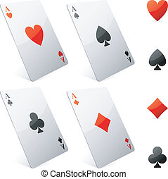 Game cards - Four game cards and card suits symbols