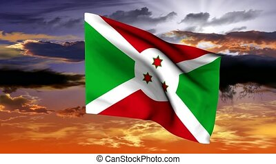 (Africa) waving flag of the Republic Burundi