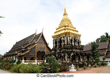 Golden stupa and temple in Wat Chiang Man, Chiang Mai,...