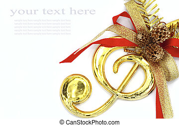 Christmas with musical signs and color ribbon - Christmas...