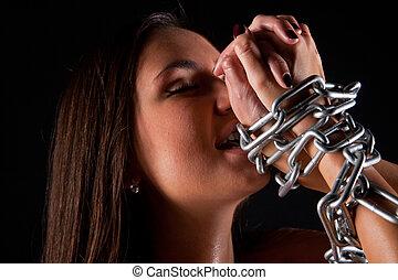 girl in underwear with chains