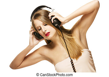 beautiful woman with headphones listening to music on white background
