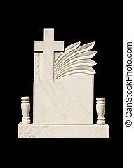 Marble grave stone isolated on black background