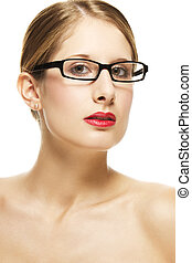 young beautiful woman with black glasses and red lips on white background