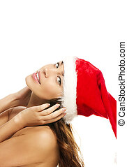 young christmas woman bending head backwards on white...