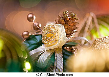 Christmas flower in green and gold colors.
