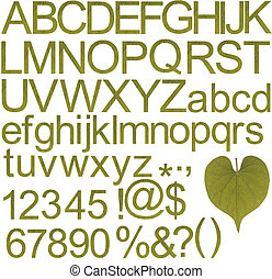 Green alphabets, numbers and special characters - Collection...